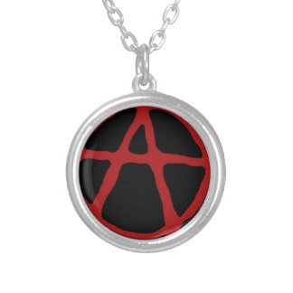 Anarchy. Black t-shirt with red symbol Silver Plated Necklace