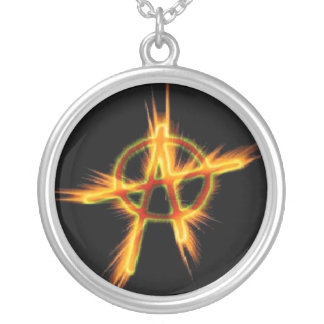 Anarchy in Flames Round Pendant Necklace