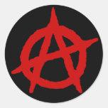 Anarchy in Red Classic Round Sticker