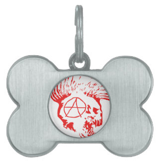 Anarchy Mohawk Skull Pet Name Tag