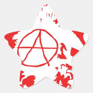 Anarchy Mohawk Skull Star Sticker