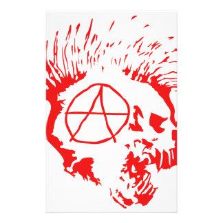Anarchy Mohawk Skull Stationery