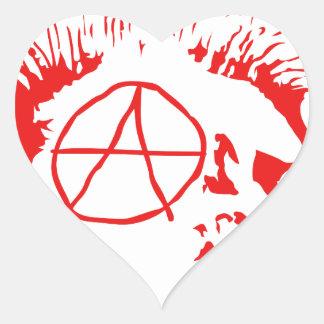 Anarchy Mohawk Skull Heart Sticker