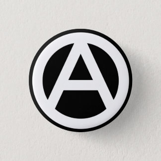 Anarchy symbol classical (black background) button