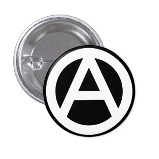 Anarchy symbol classical (black background) pinback button