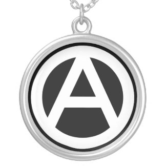 Anarchy symbol classical (black background) silver plated necklace