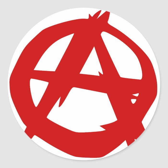 Anarchy Symbol Red A and Circle Without Ruler Classic Round Sticker