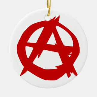 Anarchy Symbol Red A and Circle Without Ruler Double-Sided Ceramic Round Christmas Ornament