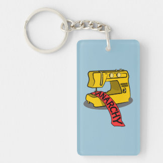 Anarchy Yellow Sewing Machine Double-Sided Rectangular Acrylic Keychain