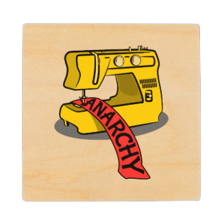 Anarchy Yellow Sewing Machine Wooden Coaster