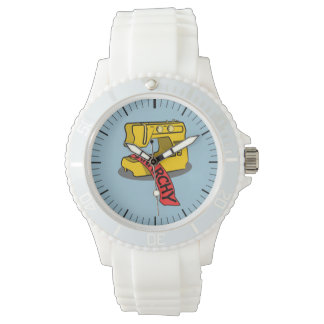 Anarchy Yellow Sewing Machine Wrist Watch
