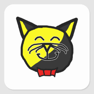 Anarchyball AnarKittyBall with Red Bow-Tie Square Sticker