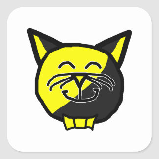 Anarkitty with White Whiskers Anarchyball Square Sticker