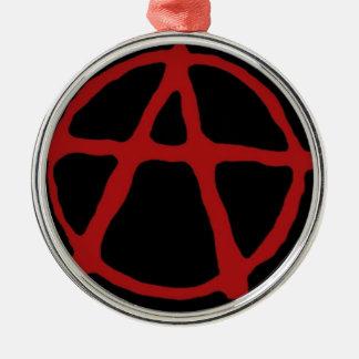 Anarquía. Camiseta negra con símbolo rojo Adorno Redondo Plateado