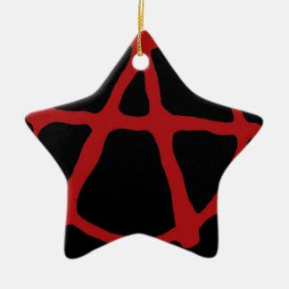 Anarquía. Camiseta negra con símbolo rojo Adorno De Cerámica En Forma De Estrella