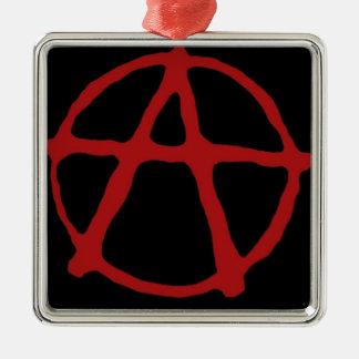 Anarquía. Camiseta negra con símbolo rojo Adorno Cuadrado Plateado