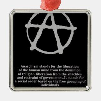 anarquía adorno cuadrado plateado