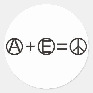 Anarquía + Igualdad = paz Pegatina Redonda