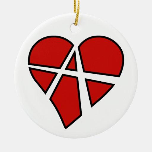 Anarquía imprudente del corazón de las relaciones adorno navideño redondo de cerámica