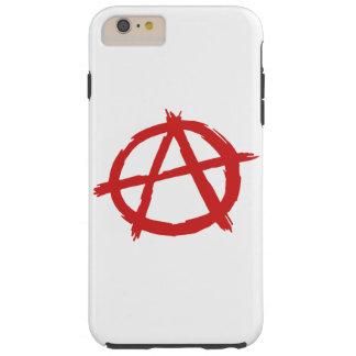 Anarquista rojo un logotipo de la anarquía del funda resistente iPhone 6 plus