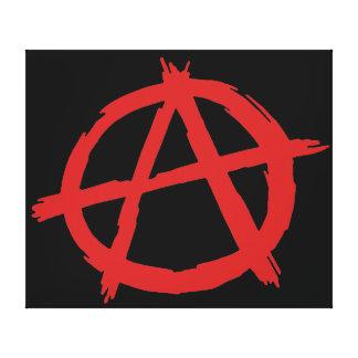 Anarquista rojo un logotipo de la anarquía del impresión en lienzo