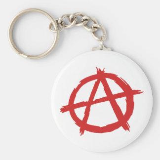 Anarquista rojo un logotipo de la anarquía del llavero redondo tipo pin