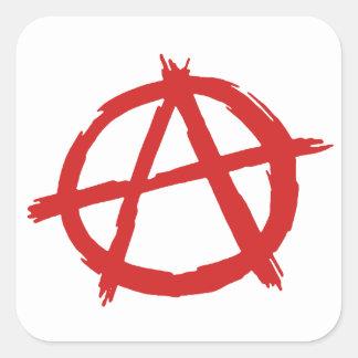 Anarquista rojo un logotipo de la anarquía del pegatina cuadrada