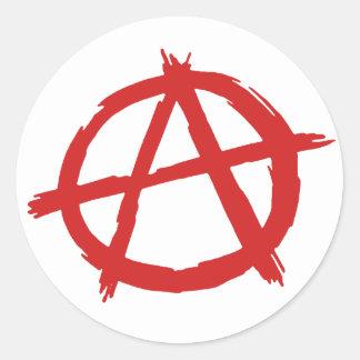 Anarquista rojo un logotipo de la anarquía del pegatina redonda