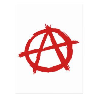 Anarquista rojo un logotipo de la anarquía del postal