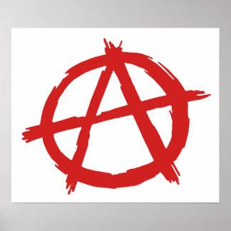 Anarquista rojo un logotipo de la anarquía del póster