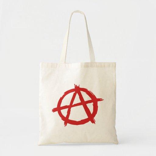 Anarquista rojo un logotipo de la anarquía del sím bolsas de mano