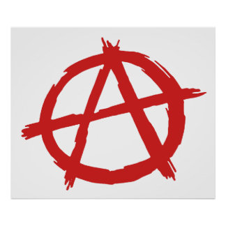 Anarquista rojo un logotipo de la anarquía del sím póster