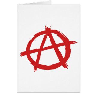 Anarquista rojo un logotipo de la anarquía del tarjeta de felicitación