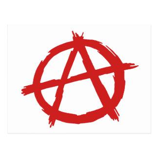 Anarquista rojo un logotipo de la anarquía del tarjeta postal