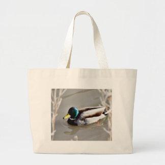 Anas Platyrhynchos Mallard Swimming In Cold Water Jumbo Tote Bag