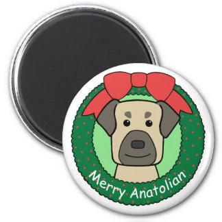 Anatolian Shepherd Christmas 2 Inch Round Magnet