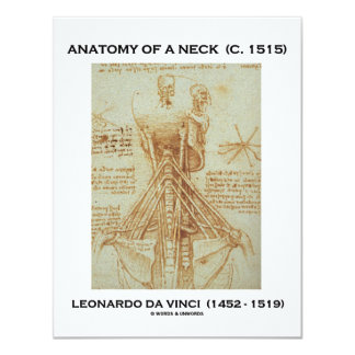 """Anatomía de Leonardo da Vinci de un cuello Invitación 4.25"""" X 5.5"""""""