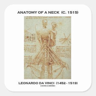 Anatomía de un cuello C. Leonardo da Vinci 1515 Pegatina Cuadrada