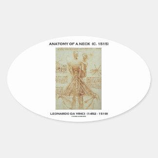 Anatomía de un cuello C. Leonardo da Vinci 1515 Pegatina Ovalada