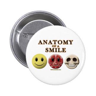 Anatomía de una sonrisa pin redondo de 2 pulgadas