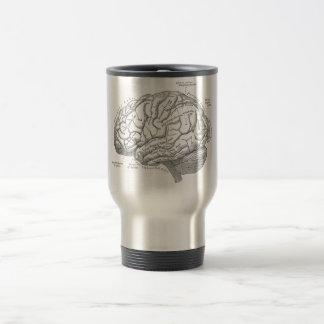 Anatomía del cerebro del vintage taza de viaje de acero inoxidable
