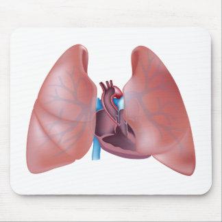 Anatomía del corazón y de los pulmones Mousepad Alfombrillas De Raton