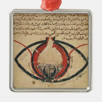 Anatomía del ojo, de un libro en enfermedades adorno navideño cuadrado de metal