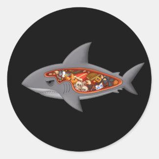 Anatomía del tiburón pegatina redonda