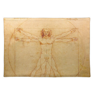 Anatomía humana, hombre de Vitruvian de Leonardo Mantel Individual