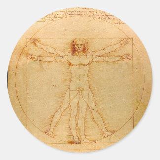 Anatomía humana, hombre de Vitruvian de Leonardo Pegatina Redonda