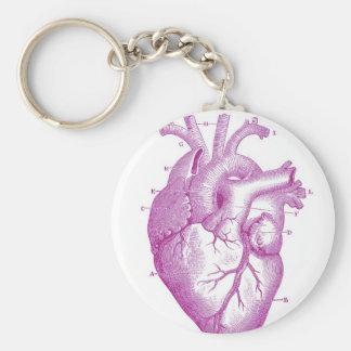 Anatomía púrpura del corazón del vintage llavero