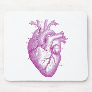 Anatomía púrpura del corazón del vintage alfombrillas de raton