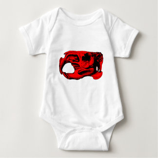 Anatomical Beaver Skull Red Baby Bodysuit