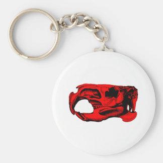 Anatomical Beaver Skull Red Keychain